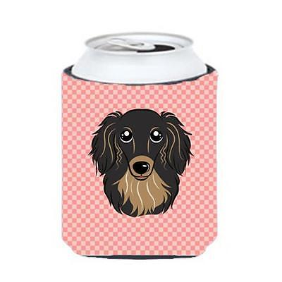 Checkerboard Pink Longhair Black And Tan Dachshund Can Or Bottle Hugger, 12 Oz.