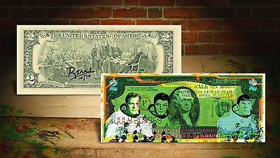 STAR TREK GREEN Astronauts by RENCY Art Colorized Genuine US $2 Bill #/70 Banksy
