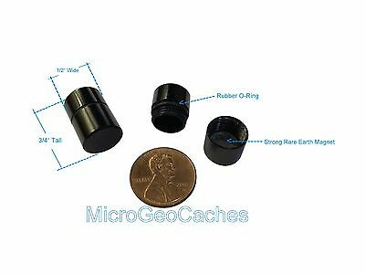 4 Black Magnetic Micro Geocaching Containers Nano Baby Bison Tube Container