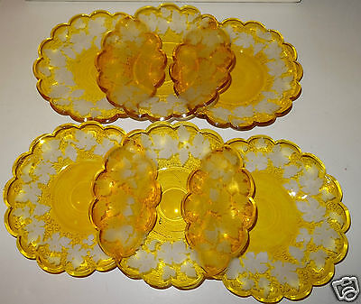 @ Rare Lot De 6 Assiettes A Dessert En Cristal Decor Feuille Vigne Et Raisin