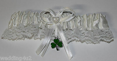 Wedding Party Ceremony ~ 3 Leaf Clover Irish~ Good Luck White Satin Garter