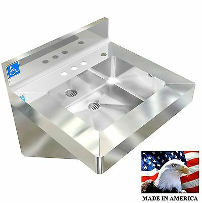 Ada Hand Sink,vandal Resistant Nsf Heavy Duty #304 Stainless Steel Made In Usa