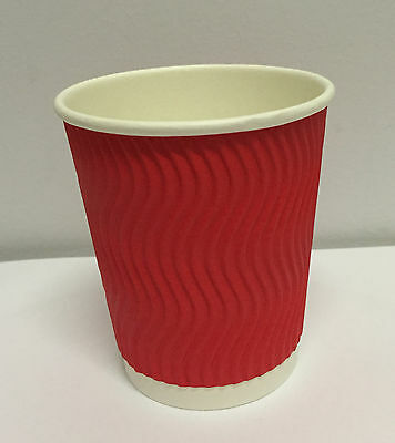 100set  8 oz RED Triple Ripple Wall Disposable Paper Coffee Cups and Lids