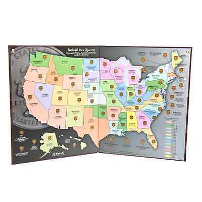 Coin Collector's Map - National Park Quarters (2010-2021) - H.e. Harris Brand