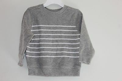 Boy's OLD NAVY Long Sleeve Striped Gray Sweater Size 18-24M Nwt 100%Cotton