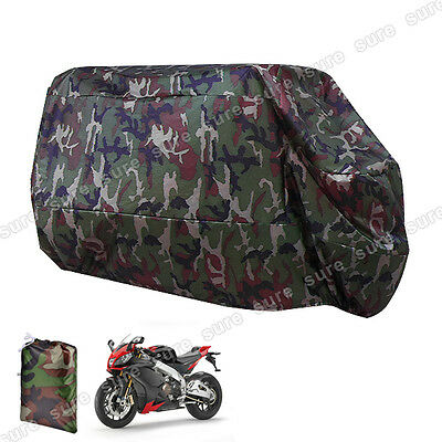 Motorcycle Waterproof Outdoor Rain Vented Bike Cover with Bag Large XL