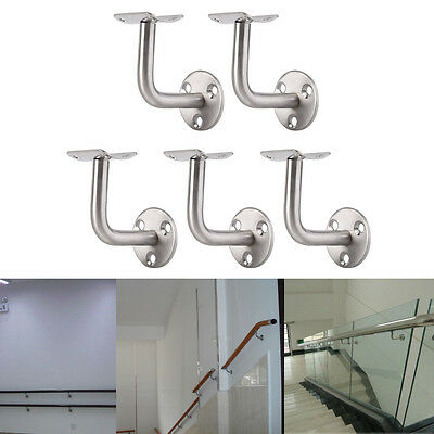 Pack Of 5 Stainless Steel Stair Bannister Hand Rail Rod Handrail Brackets