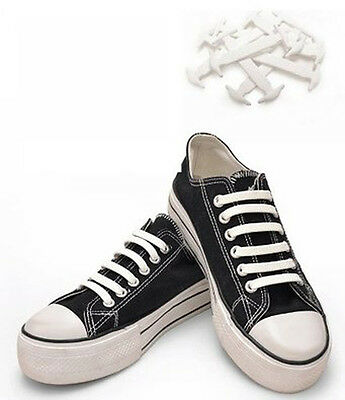 No tie shoe laces anchor no tying pull lock Kool silicon one size fits all WHITE