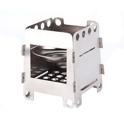 Portable Stainless Steel Folding Wood Alcohol Stove Pocket Outdoor Cooking  OK
