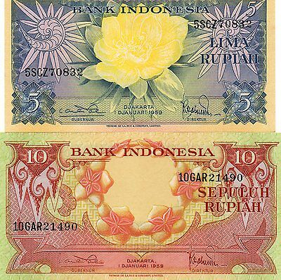 INDONESIA Asia Set of 2 pcs all UNC 5 and 10 Rupiah 1959 p-65,66