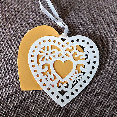 GIFT TAGS GOLD & CREAM HEART  Pack of 10  Sass & Belle QUALITY TAGS New & Sealed