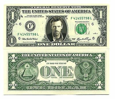 DOCTEUR HOUSE VRAI BILLET de 1 DOLLAR US ! HUGH LAURIE Collection Dr Série 7