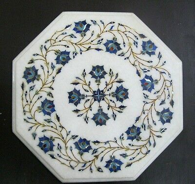 """13.5"""" Marble Table Top Lapis Lazuli Inlay Indian Handicrafts Home Decor Gifts"""