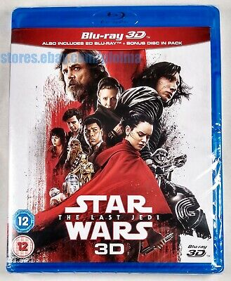 STAR WARS: THE LAST JEDI Brand New 3D (and 2D) BLU-RAY 3-Disc Set Episode VIII 8
