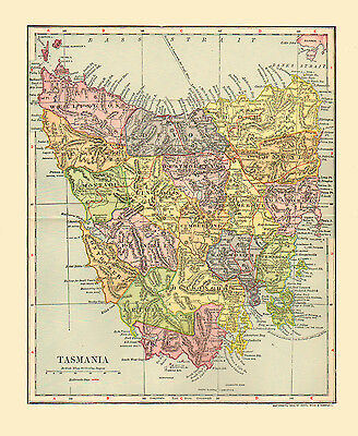 1903 Color Map of TASMANIA, Each then existing county shown