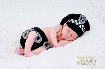 crochet baby police hat cap nappy diaper cover outfit  shower gift photo props