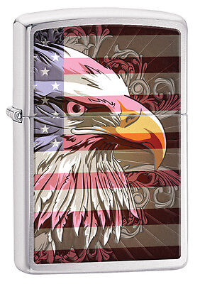 Zippo Windproof Lighter With Bald Eagle And American Flag, 28652, New In Box