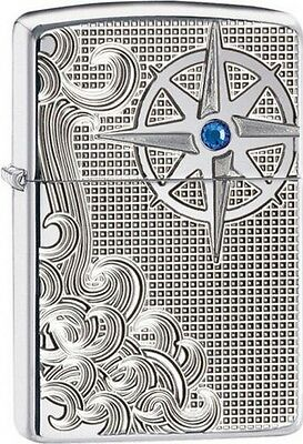 Zippo Windproof Armor Lighter 28809, Luxury Waves With Blue Crystal, New In Box