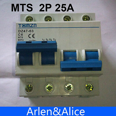 2P 25A MTS Dual power Manual transfer switch Circuit breaker MCB 400~