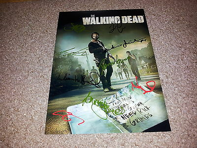 "THE WALKING DEAD CAST x8 PP SIGNED 12""X8"" PHOTO POSTER ANDREW LINCOLN SEASON S6"