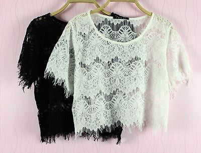 New Sexy Women Girls Full Lace Short Sleeve Casual Top Shirt Blouse