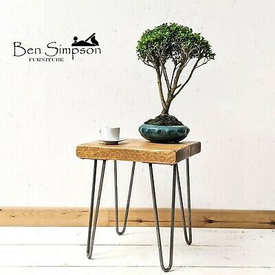 Rustic Industrial Side Table | Hairpin Legs | Handmade by Ben Simpson Furniture