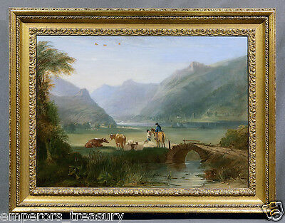 Early 20th Century Mountain Castle Landscape Oil Painting