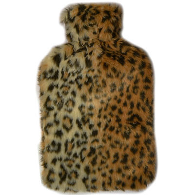 2L Hot Water Bottle With Soft Fleecy Removable Covers Cosy Fur Leopard 2 Litre