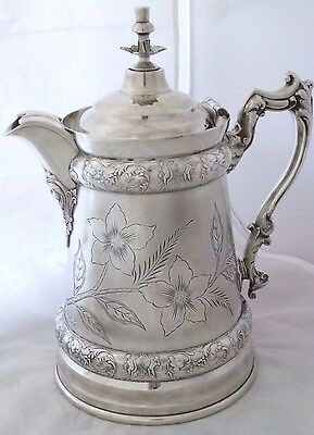 Antique Silver Ice Water Pitcher. Double walls and bottom. Plate.Repousse.1880.
