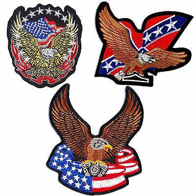 Bald Eagle USA National American Flag Embroidered Iron on Patch # M