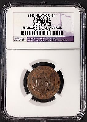"""1863 """"S. Steinfeld, New York, French Cognac"""" Civil War token! AU Details by NGC!"""