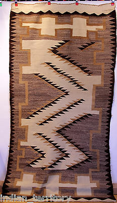 "LARGE 88.5"" x 45"" Antique c1910 Navajo Indian Lightning Bolt Motif Rug Natural"