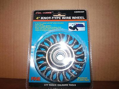 "4"" Knot-Type Wire Wheel,w/5/8"" Threaded Arbor,by Cal-Hawk"