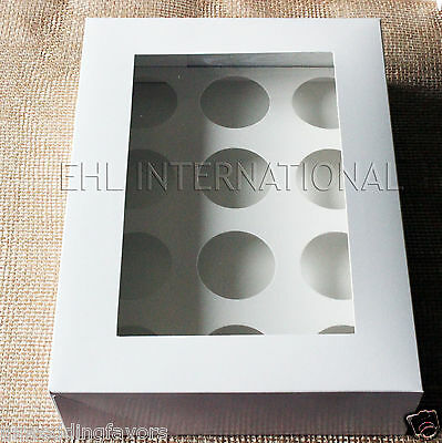 Pack of 10pcs Cupcake Muffin Boxes WHITE W/Inserts 12 Holes Bakery Party Favor
