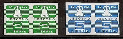 Lesotho 1986 Postage Due 2s & 5s imperforate pairs unmounted mint