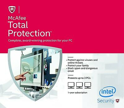 McAfee Total Protection 2016, 3 PCs, 1 Year - LATEST DOWNLOAD VERSION (NO DVD)