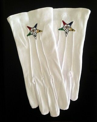 Cotton Gloves with Order of the Eastern Star Emblem (OES-GLC)