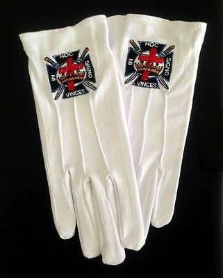 Cotton Gloves with Knights Templar Emblem (KT-GLC)