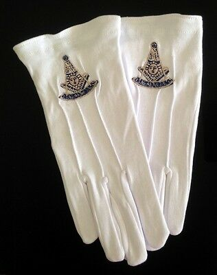 Cotton Gloves with Masonic Past Master Emblem (PM-GLC)