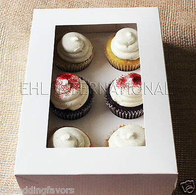Pack of 10pcs Cupcake Muffin Boxes WHITE W/ Inserts 6 Holes Party favor Bakery