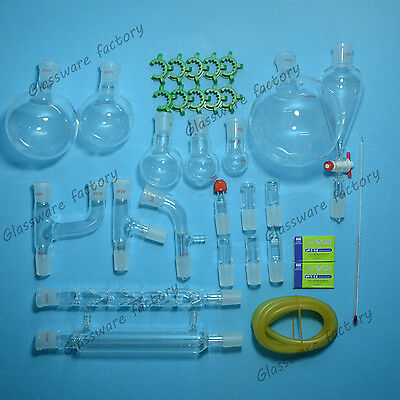 30PCS,24/29,Organic Chemistry Glassware Kit,Laboratory Chemistry kit,lab glass