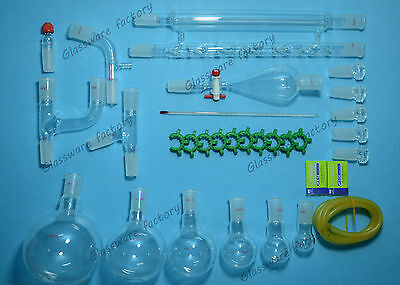 Organic Chemistry Glassware Kit,Lab Glass Set,24/40,31PCS,Lab 24/40 glassware