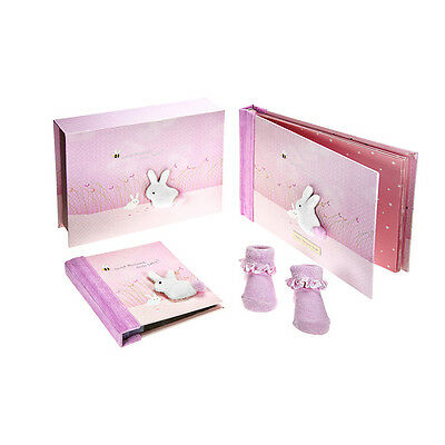 Girl Pink Baby Record Book Keepsake Box Photo Album Christening Gift Baby Shower