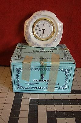 "LLADRO MANTLE CLOCK 1989 PORCELAIN 5x5x2"", Offwhite & Pale Blue from Spain #5654"