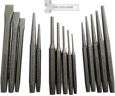 16 PC Mechanics Punch and Chisel Set Industrial Pin Tapered Center Chisel Punch