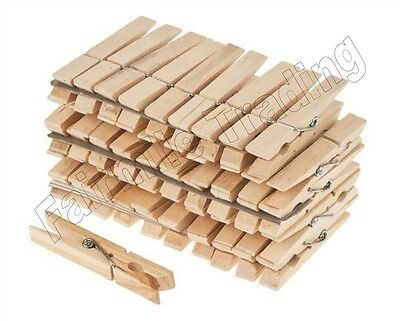 72 Large Extra Strong Wooden Clothes Pegs Washing Line Spring Coiled Hanging Dry