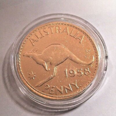 1958 Circulated Australian Penny Coin 999 24k Gold HGE in Acrylic Capsule. QE 11