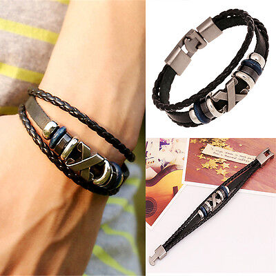 Hot Punk Unisex Women Men Wristband Metal Studded Leather Bracelet  A Good Taste