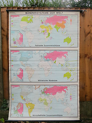 Vintage Pull Down School Map Of The World 3 In 1 Politics, Economics, Military