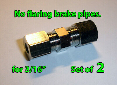 """Brake Line Pipe Inline Connector Coupler no flare 4.7625mm 3/16"""""""